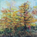 "<h5>Autumn Light Show</h5><p>Watercolor on yupo (mounted on cradled board)   8""x8""</p>"