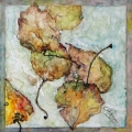 "<h5>Free Fall II</h5><p>Watercolor on yupo (mounted on cradled board)  8""x8""</p>"