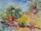 "<h5>Spring Storm III</h5><p>Watercolor on yupo (mounted on cradled board)  12""x16""</p>"