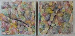 "<h5>Cleaved</h5><p>Watercolor on yupo (diptych  mounted on cradled boards)  12""x24.5""</p>"