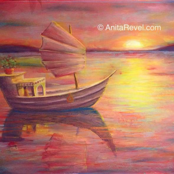 boat on water at sunset art