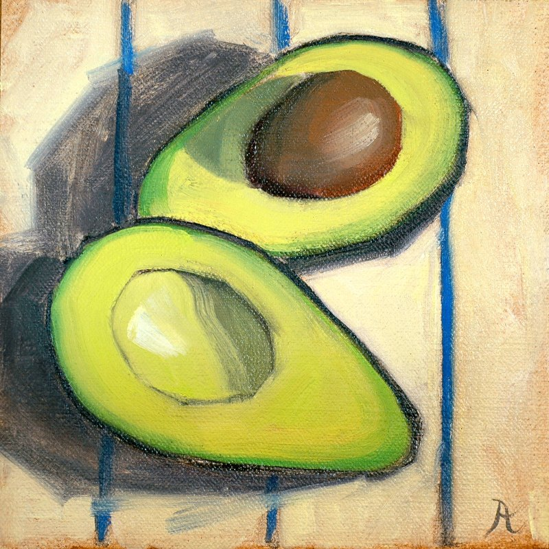 Halved avocado.