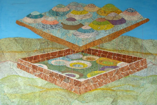 "Inspired by working on a dig at Tel Kasila on the grounds of Eretz Israel Museum, where I worked as a textile conservator.  The collage is about the nature of maps.  33""w, 28""h, 1984"