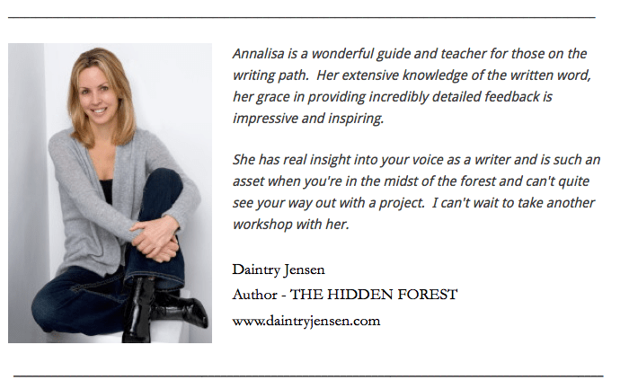 Annalisa Parent Author Writing Workshop Testimonial.