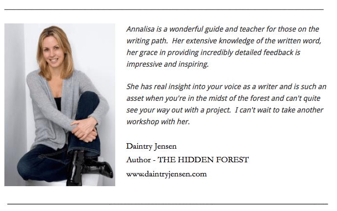 Annalisa Parent Author Writing Workshop Testimonial.