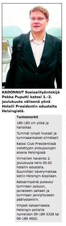 Pekka Puputti kadonnut