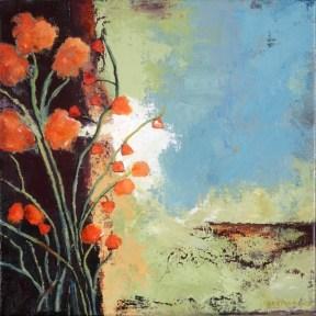 Orange Lotus, acrylic on canvas, 14 x 14 x 1.5 inches.