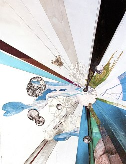 Annie Heckman, The sky, ripped open for Krista and Rivane, 2011, drawing, collage, and gouache on paper, 28 x 22 inches, private collection, USA