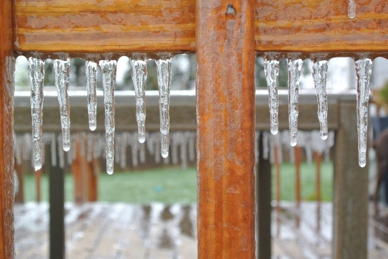 Even the deck was bejeweled with icy adornment.