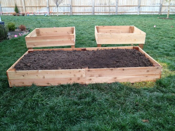 A sneak peek at my new raised garden beds! They'll all be sunk into the ground, then filled with soil.