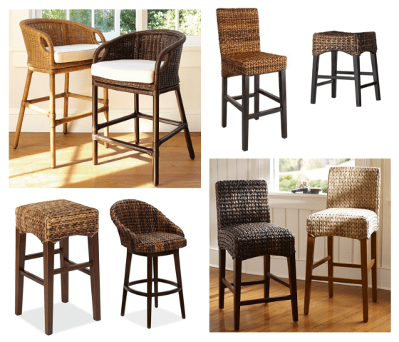 Natural fiber counter stools. Clockwise from top left. Pottery Barn Wingate Rattan $299. Target Andres Counter Stool $159.99. Target Andres Saddle Stool $79.99. Pottery Barn Seagrass Barstool $129. Pottery Barn Seagrass Bucket Swivel Stool $279. Pottery Barn Seagrass Backless Barstool $129.
