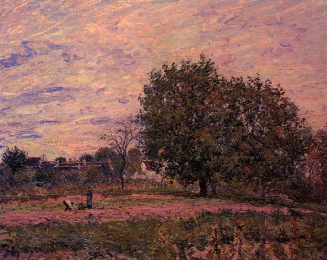 Καρυδιές, ηλιοβασίλεμα πρώτες ημέρες του Οκτωβρίου-  Alfred Sisley 1882