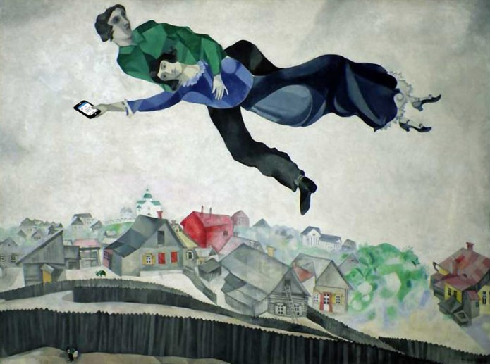 """η είδηση της απαγωγής στο Facebook -  Μ. Σαγκάλ """"Πάνω από την πόλη"""" έργο του 1917"""