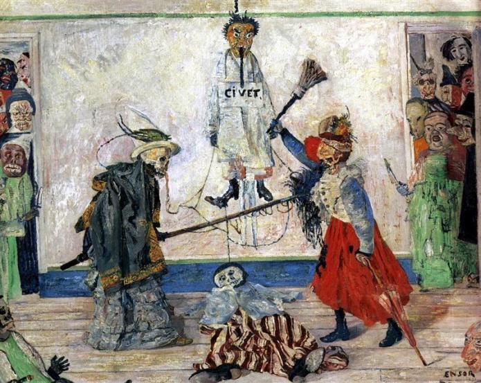 Μάσκες χτυπιούνται δίπλα σ έναν κρεμασμένο - James Ensor - 1891