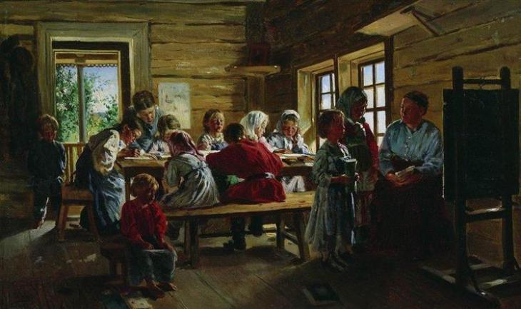 Στο σχολείο του χωριού - Vladimir Makovsky 1883