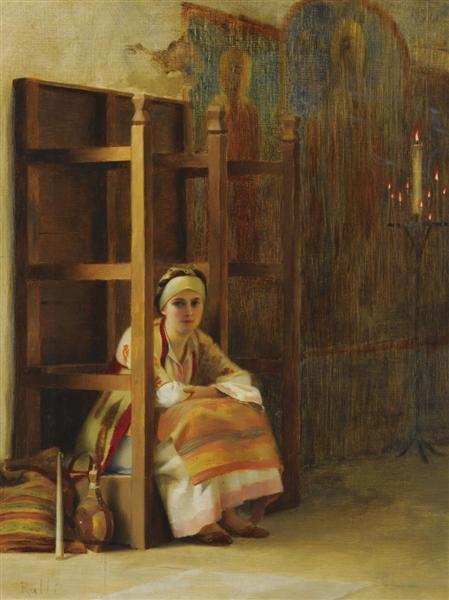 Νεαρό κορίτσι σε μια ελληνική εκκλησία -Θεόδωρος Ράλλης