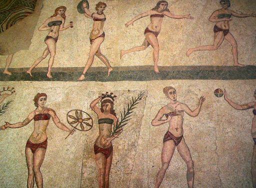 Οι εικονιζόμενες «Δεσποινίδες με το Μπικίνι» βρέθηκαν σε πάτωμα με μωσαϊκό στη Villa Romana del Casale της Σικελίας