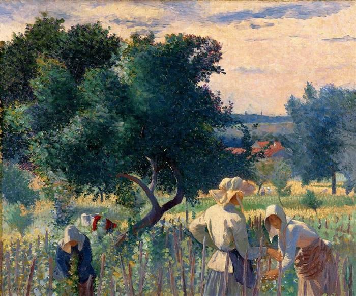 γυναίκες δένουν το αμπέλι -Henri-Edmond Cross 1890