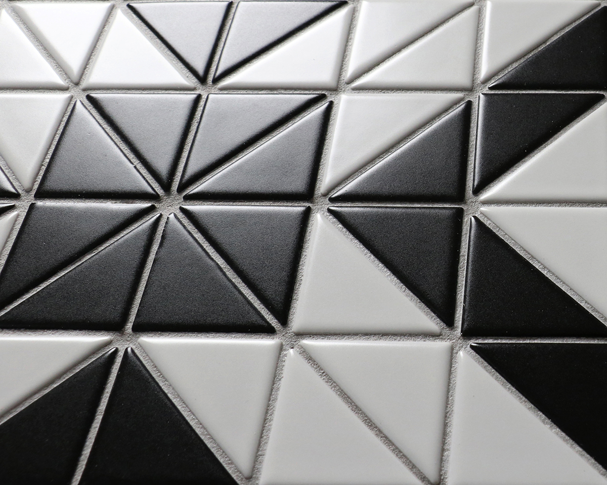 The Triangle Porcelain Tiles Black Triangle Porcelain Tile Black Tile Mudroom Tile Symbolism Black houzz 01 Black And White Tile Floor