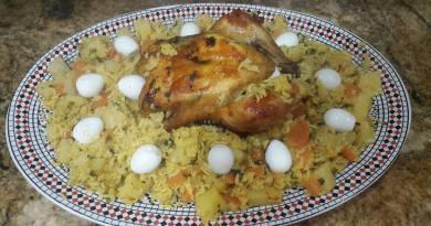 أكلة مغربية : دجاجة بالأرز والخضر