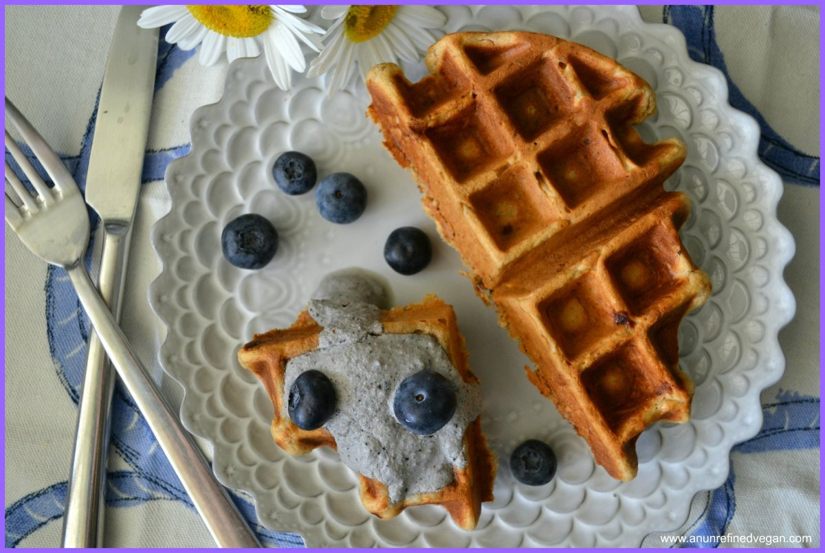 Vegan MoFo 15: Peanut Butter-Banana Waffles with Blueberry Macadamia Nut Sauce. Low-gluten. Sugar- and Oil-free.