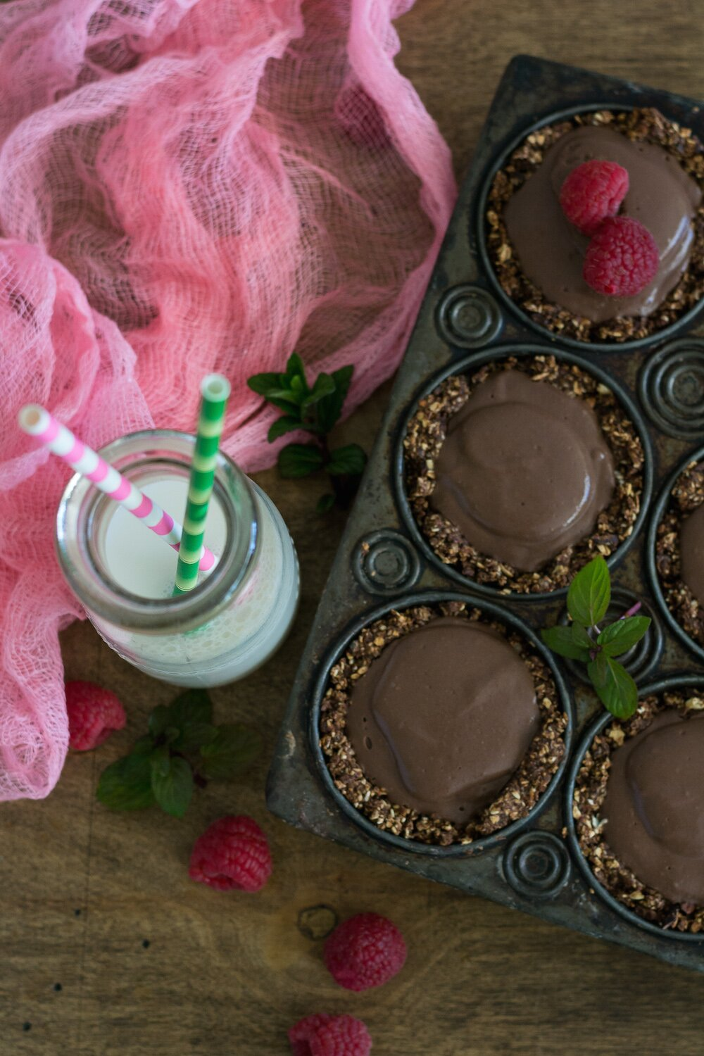 Mini Chocolate Mint Pudding Pies. Sugar-free, Oil-free, Gluten-free. + NuNaturals Giveaway!