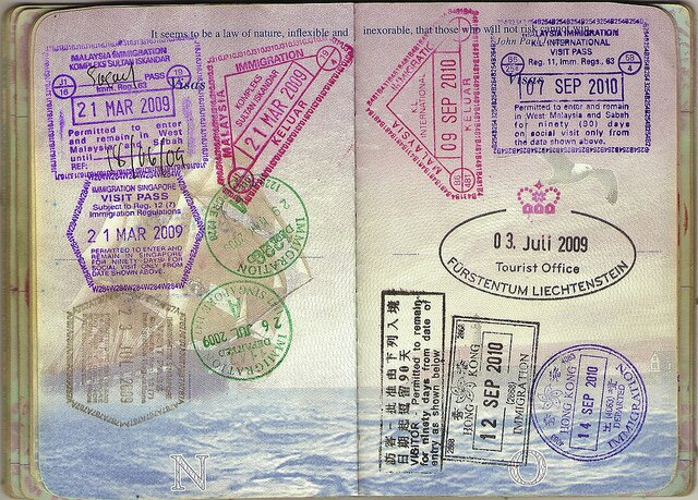Stamps in a US passport.