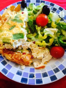 Low fat no pastry cheese and onion Quiche