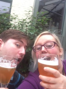 Enjoying a beer!
