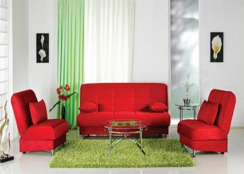 red and green living room