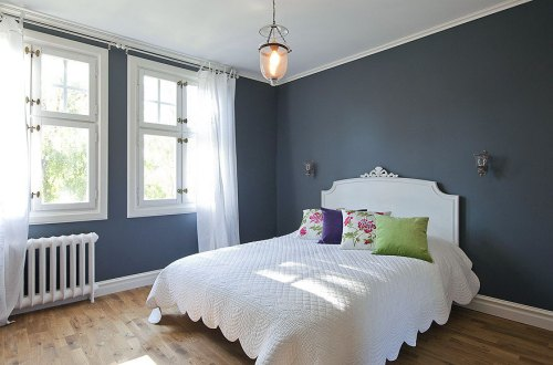 Grey flooring bedroom