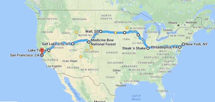 road trip from New York to San Francisco