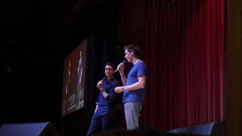 James & Oliver Phelps speaking to attendees