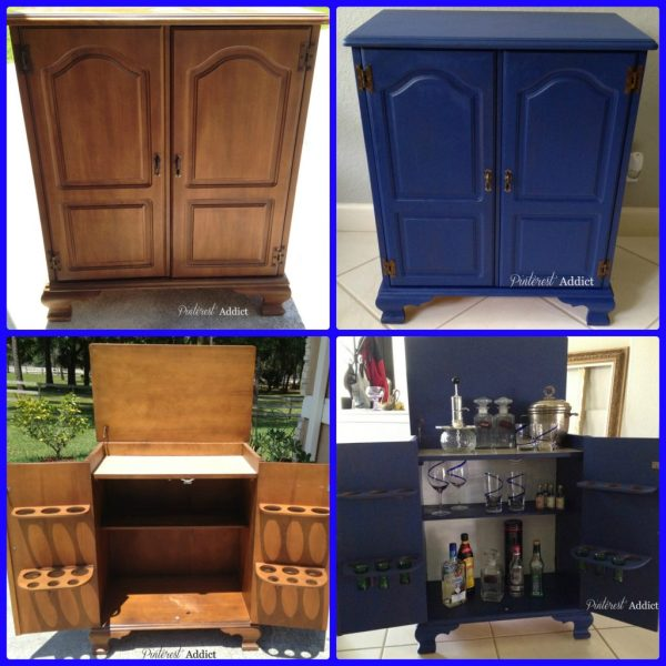 Mini-bar before and after using van Gogh Chalk Paint