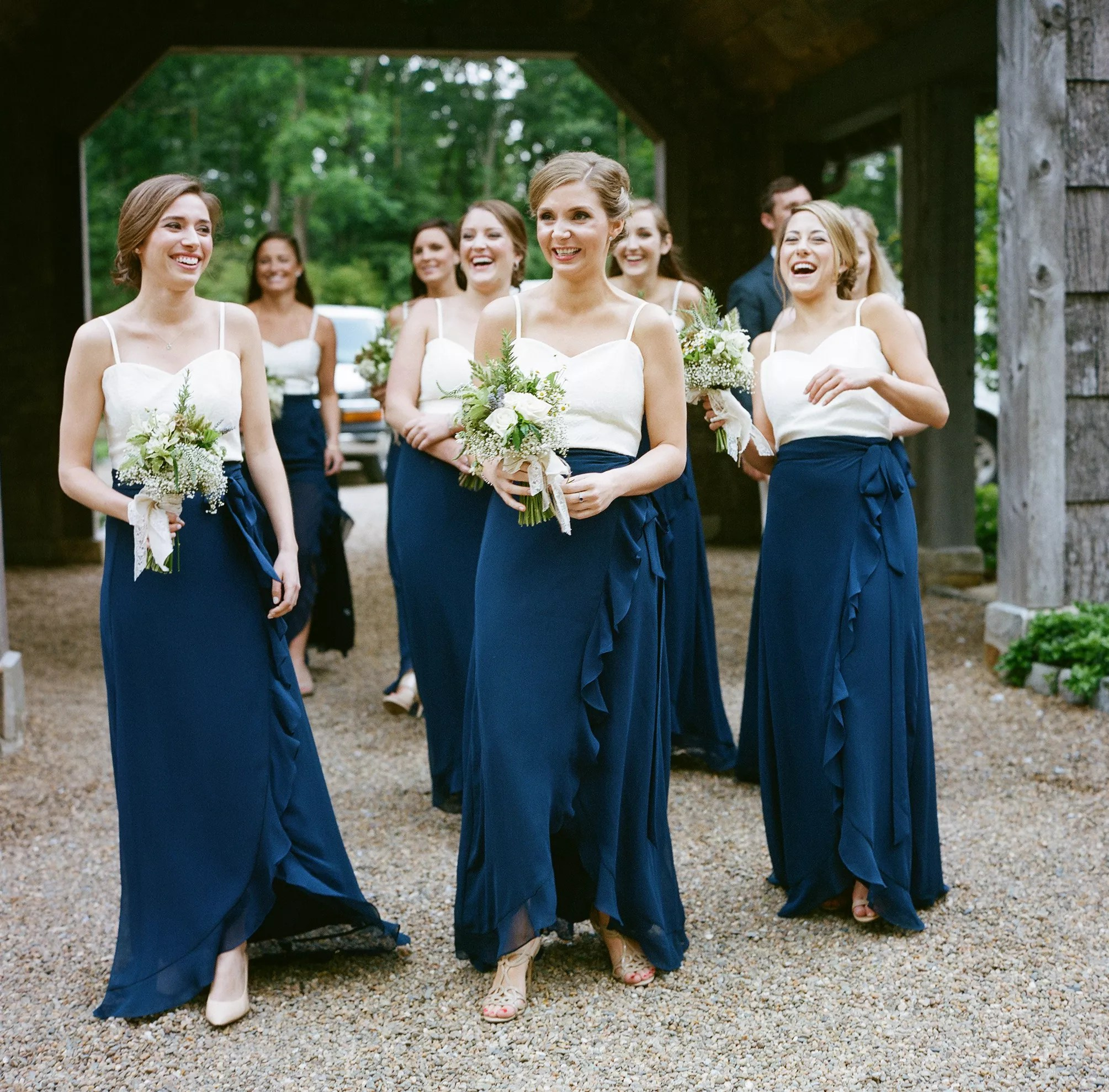 blue bridesmaid dresses photos navy dresses for weddings Two Piece Navy and White Joanna August Bridesmaid Dresses