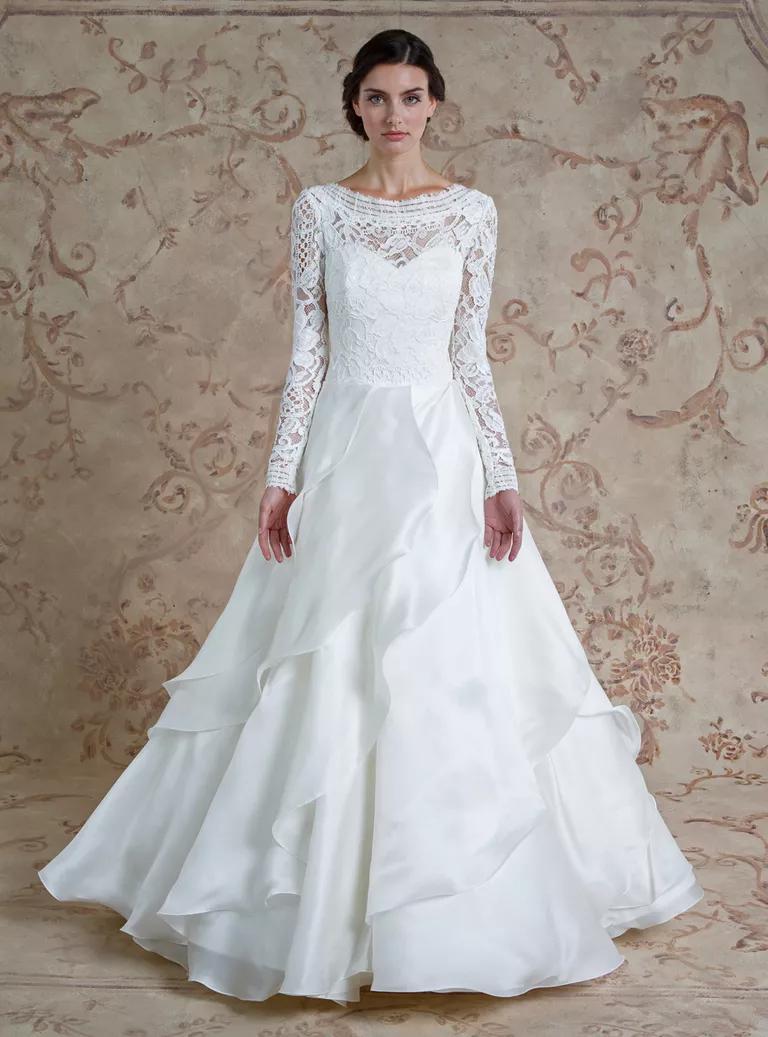 sareh nouri wedding dresses bridal fashion week fall wedding ball gown dresses Sareh Nouri Fall illusion neckline lace ball gown wedding dress with long sleeves and ruffled