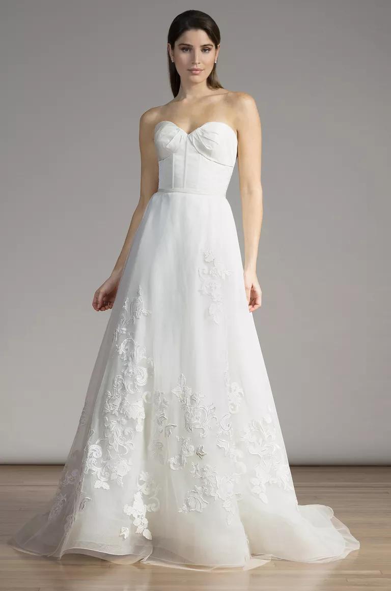 liancarlo wedding dresses bridal fashion week spring wedding dress corset top Liancarlo corset top and applique skirt wedding dress from Spring