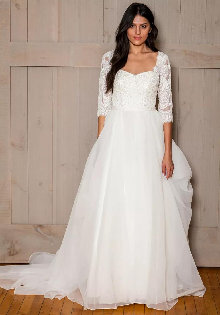 davids bridal wedding dresses bridal fashion week fall davids bridal wedding dresses David s Bridal Fall 3 4 lace sleeve wedding dress with tulle skirt