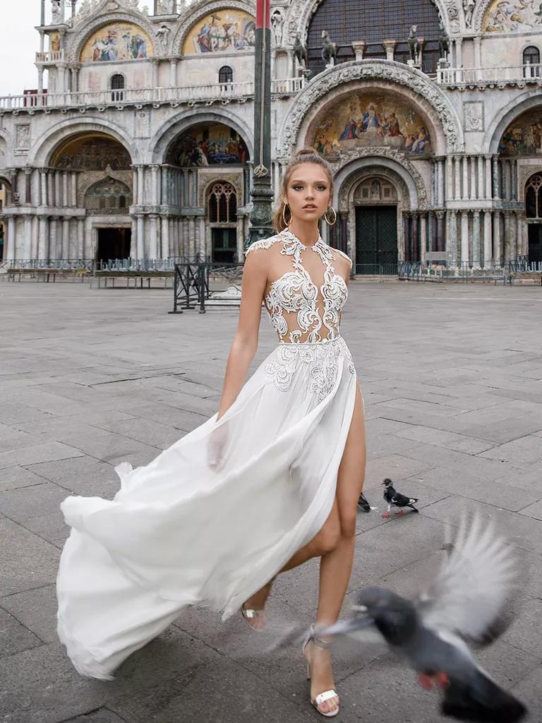 julie vino wedding dresses bridal fashion week spring sexy wedding dresses Julie Vino Spring sheer A line wedding dress with sexy illusion bodice