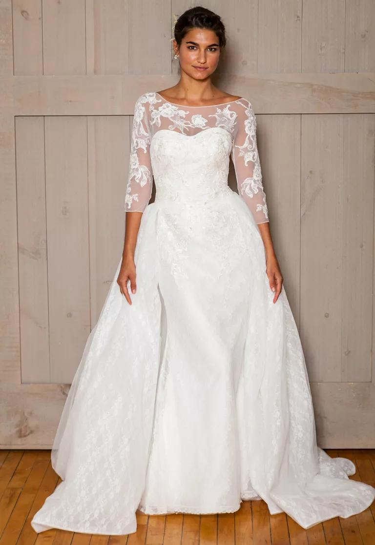 davids bridal wedding dresses bridal fashion week fall davids bridal wedding dresses David s Bridal Fall 3 4 mesh sleeve ball gown wedding dress with sweetheart neckline