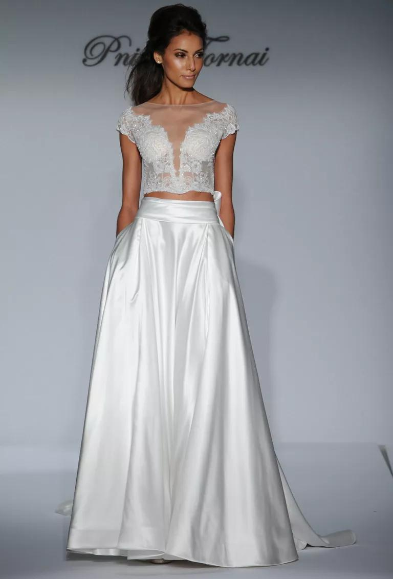 pnina tornai wedding dresses bridal fashion week fall crop top wedding dress Pnina Tornai two piece wedding dress with illusion lace crop top and satin A