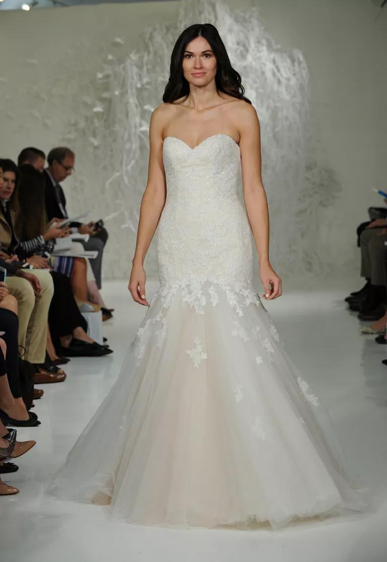watters wedding dresses bridal fashion week fall blush mermaid wedding dress Watters Fall soft blush mermaid wedding dress with sweetheart neckline and white lace applique