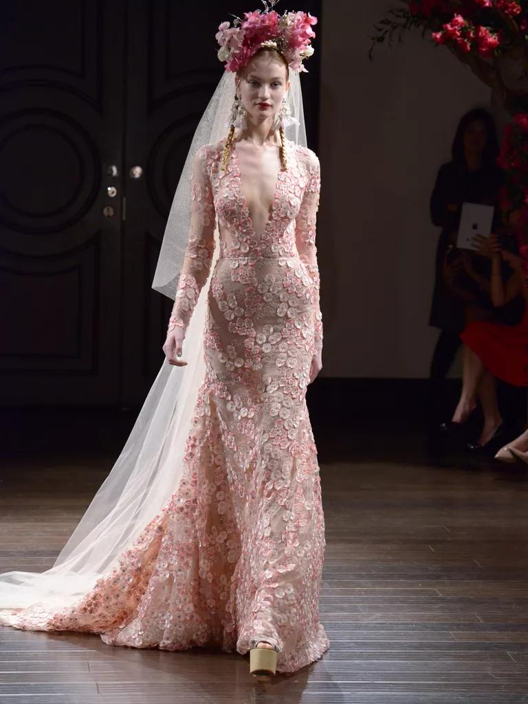 naeem khan wedding dresses bridal fashion week fall pink wedding dress Naeem Khan Fall pink floral lace long sleeve wedding dress