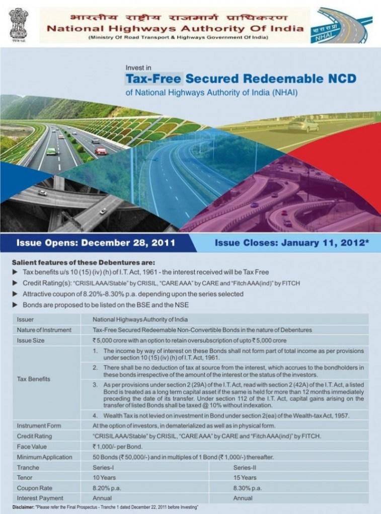 NHAI Tax free NCD