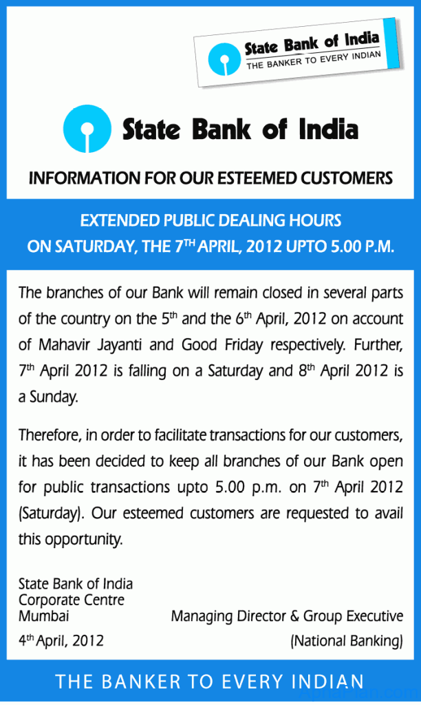 SBI Extended working hours in April
