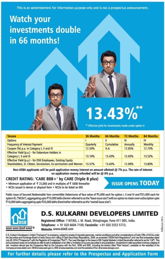D S Kulkarni Secured NCD Advertisement - August 2014