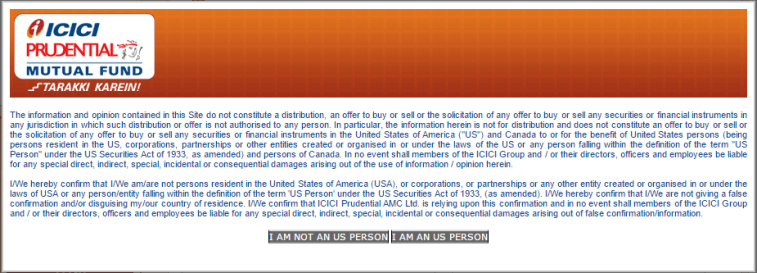 US Person cannot invest in some Indian Mutual Funds due to FATCA - ICICI Prudential Example