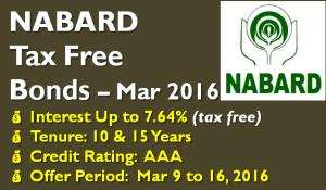 NABARD Tax Free Bond – March 2016