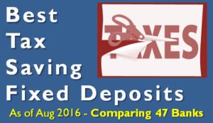 Highest Tax Saving Bank Fixed Deposit Rates - 80C - August 2016