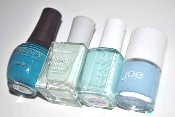 From L to R: SpaRitual Indigo, Sally Hansen Smooth & Perfect in Sea, Essie Mint Candy Apple, Joe Fresh Powder Blue.